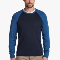 James Perse Cotton Baseball Raglan Sweater French Navy Air Force Blue $175