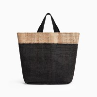 James Perse Playa Tipped Large Hemp Tote Black Natural $495