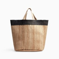 James Perse Playa Tipped Large Hemp Tote Natural Black $495