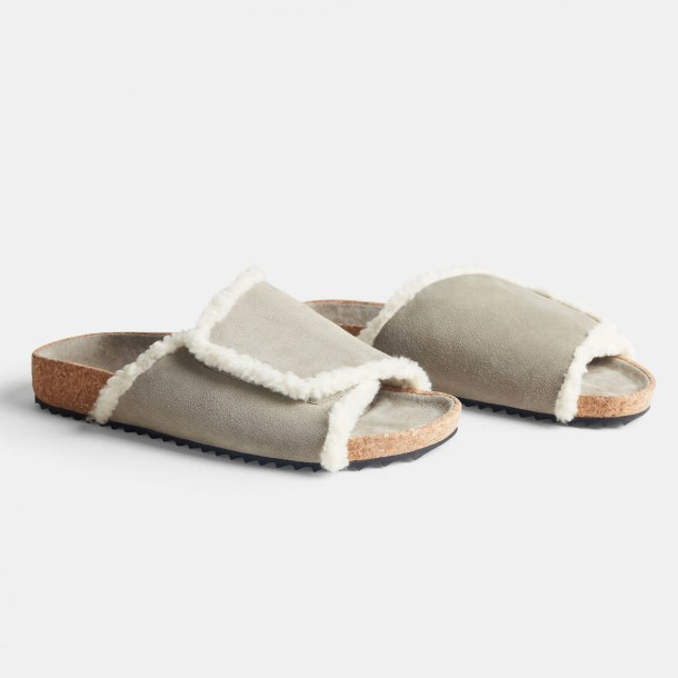 James Perse Suede Shearling Slide $395