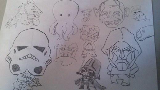 bocetos de personajes para app
