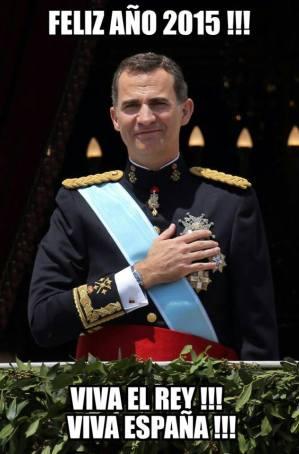 En tres días se acaba este año 2.014 tan importante en muchos sentidos para #LaCoronaEspañola,os deseo a todos un feliz y próspero año 2.015, que todos los deseos y todos los sueños se cumplan,y recordad que solo con trabajo y perseverancia se alcanzan las metas. #ReydeEspaña #MonarquíaParlamentaria #FelipeVI #CoronaEspañola #FamiliaReal, feliz semana para todos. Felipe defiende una españa unida donde cabemos todos Como hemos observado a través de sus Mensajes, SSMM el Rey Felipe VI defiende 1.- Lucha contra la corrupción; 2.- Una mejor economía con m ayor empleo y 3.- una España unida donde cabemos todos 2014/2015