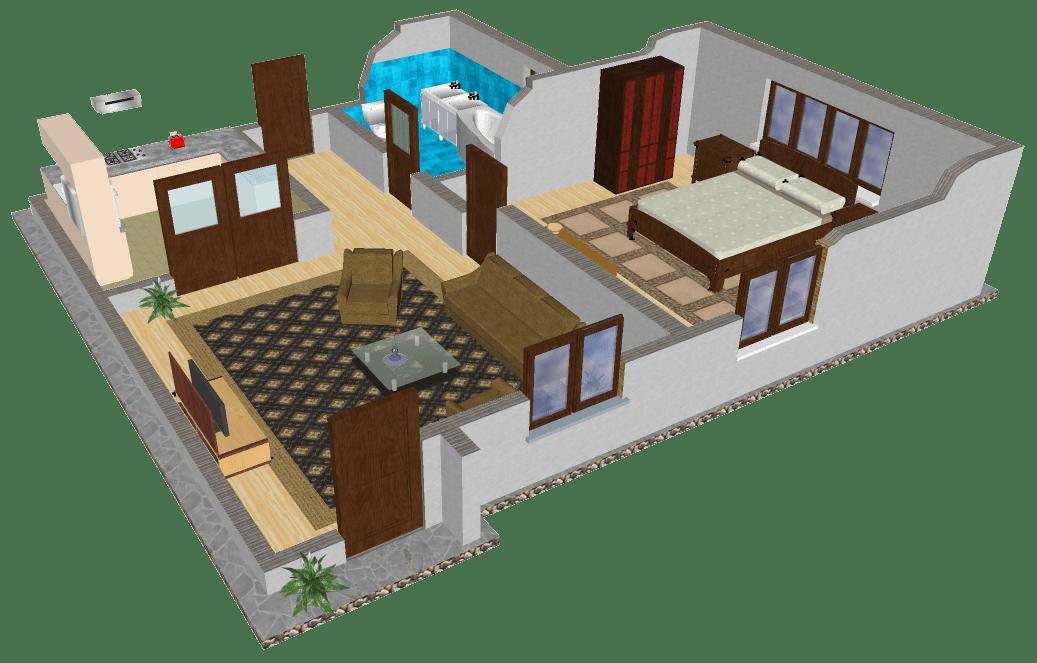 Schita apartament de doua camere, in Google SketchUp
