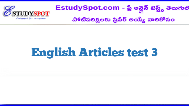 English Articles test 3
