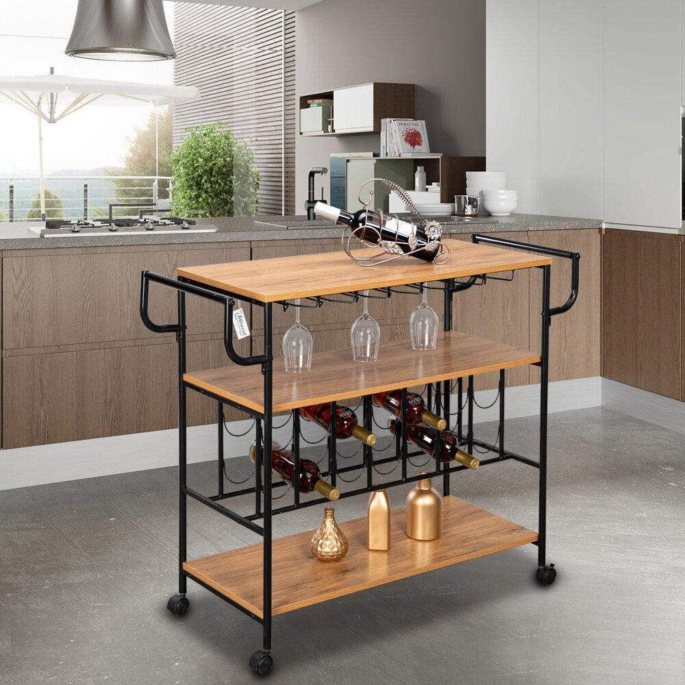 1 5cm Industrial Wine Rack Cart Kitchen Rolling Storage Bar Wood Table Serving Trolley With 2 Handle Bars 4 Rolling Estue