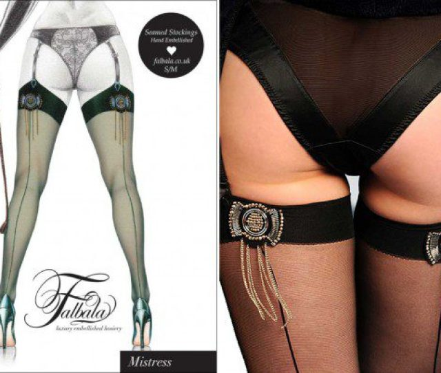 Seamed Stockings With Chain Tassels X