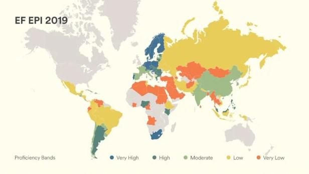 英語能力世界地図-EF EPI2019