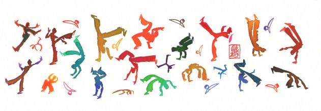 Encres : Capoeira – 405 [ #capoeira #watercolor #illustration] Encre sur papier 300gr / Ink on paper 300gr 10.5 x 30 cm