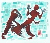 Encres : Capoeira – 415 [ #capoeira #watercolor #illustration] Encre sur papier 300gr / Ink on paper 300gr 17 x 15 cm