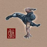 """Le Capoeiriste masqué III / The Masked Capoeirista III"" Encres : Capoeira – 417 [ #capoeira #digital #illustration] Peinture digitale faite avec Mypaint & Gimp / Digital painting made with Mypaint & Gimp."