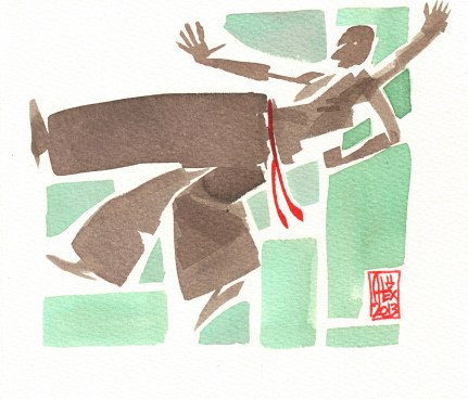 Encres : Capoeira – 418 [ #capoeira #watercolor #illustration] Encre sur papier 300gr / Ink on paper 300gr 17 x 15 cm
