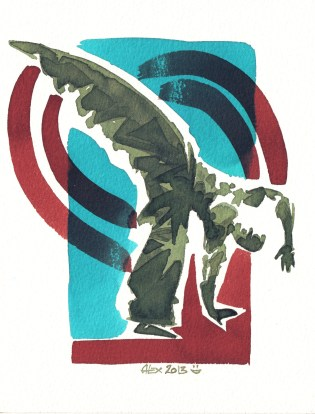 Encres : Capoeira – 433 [ #capoeira #watercolor #illustration] Encre sur papier 300gr / Ink on paper 300gr 14 x 19 cm