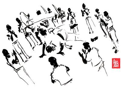 Encres : Capoeira – 468 « Floating Roda » [ #capoeira #watercolor #illustration] Encre sur papier 190gr / Ink on paper 190gr 21 x 29.7 cm / 8.3 x 11.7 in