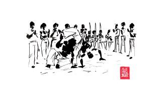 Encres : Capoeira – 470 « where is he ? » [ #capoeira #watercolor #illustration] Encre sur papier 190gr / Ink on paper 190gr 21 x 29.7 cm / 8.3 x 11.7 in