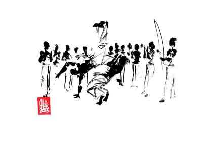 Encres : Capoeira – 473 [ #capoeira #watercolor #illustration] Encre sur papier 190gr / Ink on paper 190gr 21 x 29.7 cm / 8.3 x 11.7 in