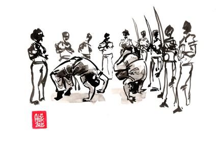 Encres : Capoeira – 478 [ #capoeira #watercolor #illustration] Encre sur papier 190gr / Ink on paper 190gr 21 x 29.7 cm / 8.3 x 11.7 in