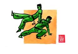 Encres : Capoeira – 518 [ #capoeira #watercolor #illustration] Encre sur papier 190gr / Ink on paper 190gr 14.8 x 21 cm / 5.8 x 8.3 in