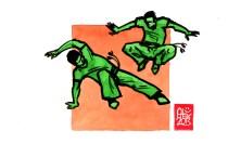 Encres : Capoeira – 522 [ #capoeira #watercolor #illustration] Encre sur papier 190gr / Ink on paper 190gr 14.8 x 21 cm / 5.8 x 8.3 in