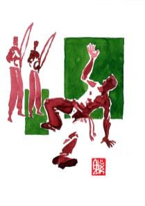 Encres : Capoeira – 560 [ #capoeira #watercolor #illustration] aquarelle sur papier 300gr / watercolor on paper 300gr 18 x 25 cm / 7.1 x 9.8 in