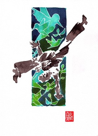Encres : Capoeira – 572 [ #capoeira #watercolor #illustration] aquarelle sur papier 300gr / watercolor on paper 300gr 18 x 25 cm / 7.1 x 9.8 in
