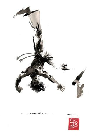 Encres : Capoeira – 592 [ #capoeira #watercolor #illustration] aquarelle sur papier 300gr / watercolor on paper 300gr 30 x 20 cm / 12 x 7.9 in