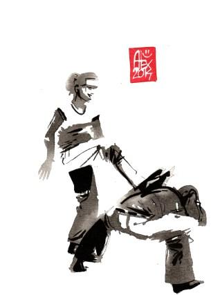 Encres : Capoeira – 634 [ #capoeira #watercolor #illustration] aquarelle sur papier 300gr / watercolor on paper 300gr 15 x 20 cm / 5.9 x 7.9 in