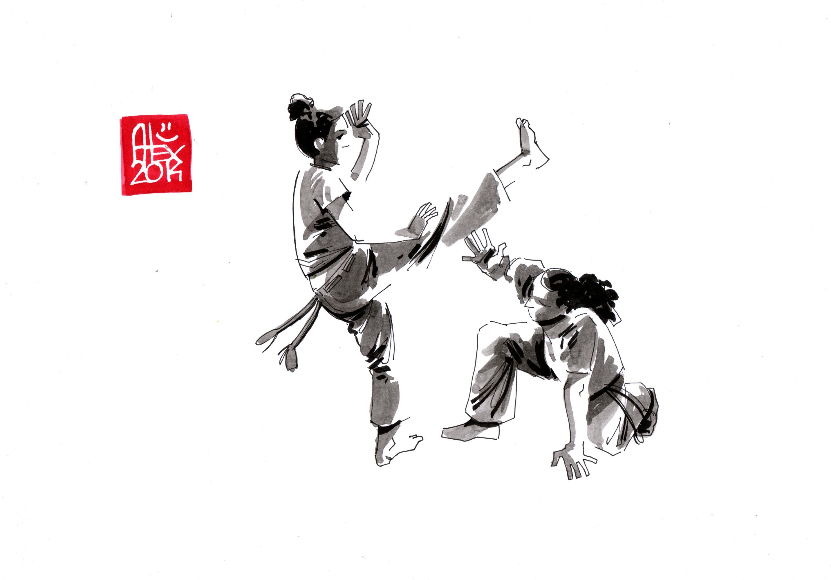 Illustration : Capoeira – 675 [ #capoeira #watercolor #illustration] aquarelle sur papier 180gr / watercolor on paper 180gr 21x 29.7 cm / 8.3 x 11.7 in