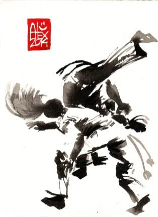 Encres : Capoeira – 645 [ #capoeira #watercolor #illustration] aquarelle sur papier 300gr / watercolor on paper 300gr 14 x 19 cm / 5.5 x 7.5 in