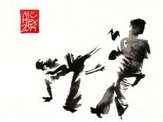 Encres : Capoeira – 647 [ #capoeira #watercolor #illustration] aquarelle sur papier 300gr / watercolor on paper 300gr 14 x 19 cm / 5.5 x 7.5 in