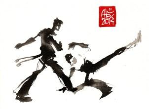 Encres : Capoeira – 648 [ #capoeira #watercolor #illustration] aquarelle sur papier 300gr / watercolor on paper 300gr 14 x 19 cm / 5.5 x 7.5 in
