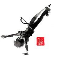 Illustration : Capoeira – 694 [ #capoeira #watercolor #illustration] aquarelle sur papier 325gr / watercolor on paper 325gr 16 x 16 cm / 6.30 x 6.30 in