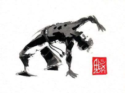 Illustration : Capoeira – 707 [ #capoeira #watercolor #illustration] aquarelle sur papier 325gr / watercolor on paper 325gr 12 x 16 cm / 4.7 x 6.30 in
