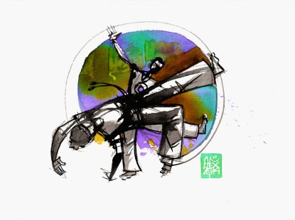 Illustration : Capoeira – 749 [ #capoeira #watercolor #illustration] aquarelle sur papier 325gr / watercolor on paper 325gr 24 x 32 cm / 9.4 x 12.6 in