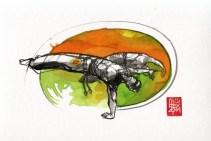 Illustration : Capoeira – 755 [ #capoeira #watercolor #illustration] aquarelle sur papier 325gr / watercolor on paper 325gr 24 x 32 cm / 9.4 x 12.6 in