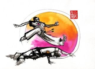 Illustration : Capoeira – 756 [ #capoeira #watercolor #illustration] aquarelle sur papier 325gr / watercolor on paper 325gr 24 x 32 cm / 9.4 x 12.6 in