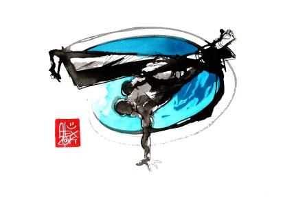 Illustration : Capoeira – 762 [ #capoeira #watercolor #illustration] aquarelle sur papier 325gr / watercolor on paper 325gr 24 x 32 cm / 9.4 x 12.6 in