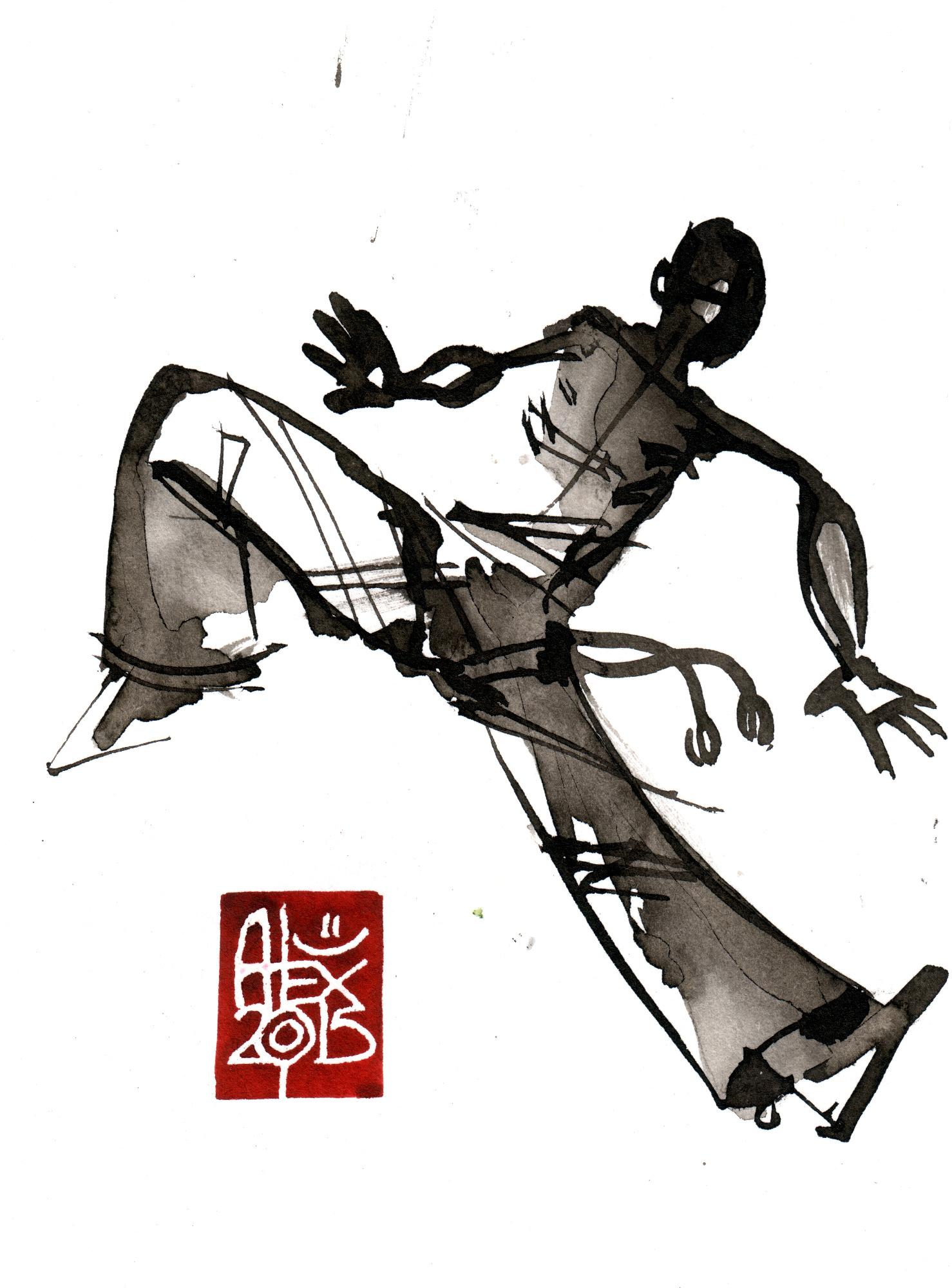 Illustration : Capoeira – 778 [ #capoeira #watercolor #illustration] aquarelle sur papier 325gr / watercolor on paper 325gr 12 x 16 cm / 4.7 x 6.30 in