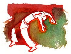 Illustration : Capoeira – 792 [ #capoeira #watercolor #illustration] aquarelle sur papier 325gr / watercolor on paper 325gr 19 x 14 cm / 7.5 x 5.5 in