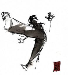 Illustration : Capoeira – 793 [ #capoeira #watercolor #illustration] aquarelle sur toile / watercolor on canvas 14 x 14 cm / 5.5 x 5.5 in
