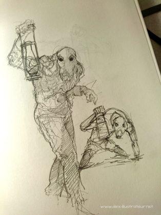 Enfin ! Après une révision de la précédente posture guère plus intéressante, je trouve l'inspiration ! Il me faut accentuer l'aspect torturé du corp sans pour autant lui donner un air trop animal.
