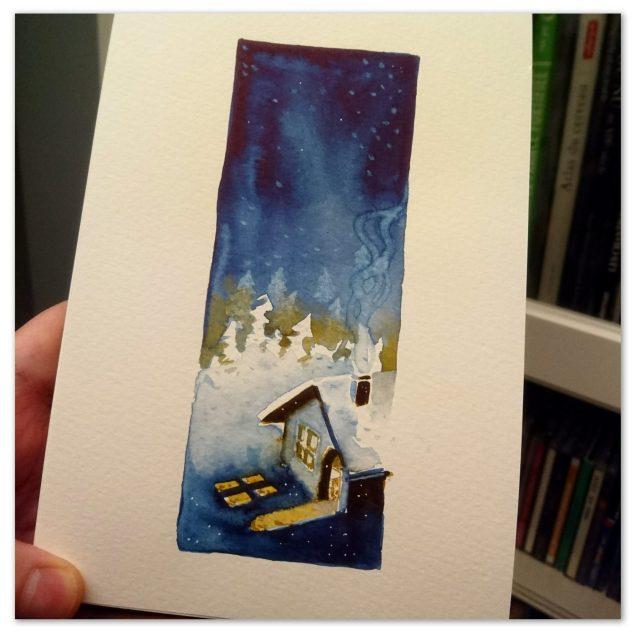 Peinture représentant une maison sous la neige en pleine nuit avec les lumières de l'intérieur qui se projettent à l'extérieur.