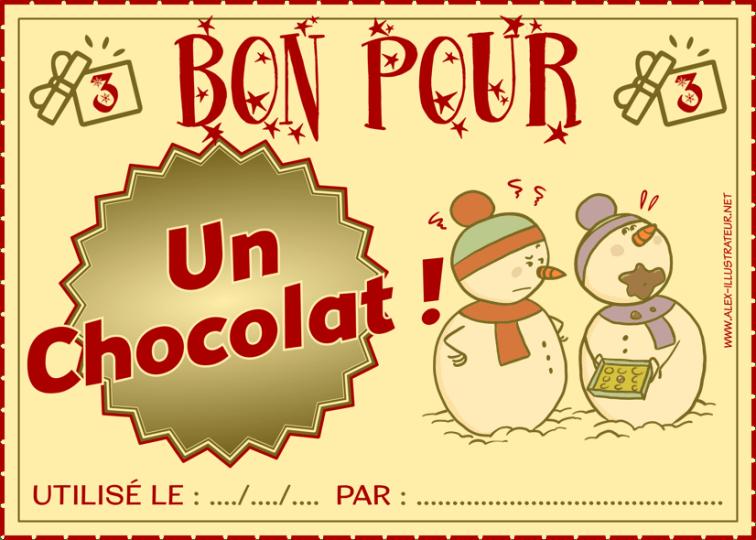 03 décembre : Bon pour un chocolat à imprimer et donner à qui vous voulez !