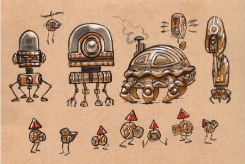 Une méduse robot, un crabe robot et des lutins robots