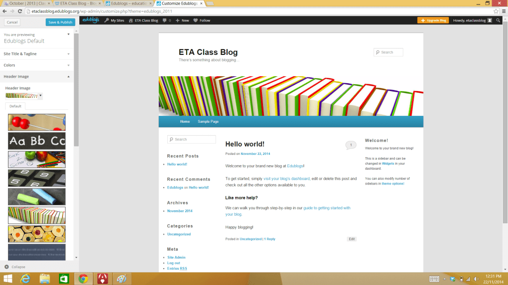 customise theme edublog