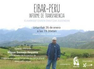 Eibar-Peru kooperazio proiektuaren berri emateko hitzaldia gaur udaletxean
