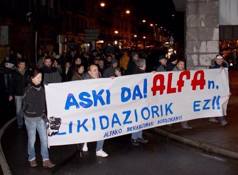 ALFAko langileek manifestazioa deitu dute gaurko, 19:00etan Untzagatik abiatuta