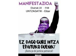 'La Manada' askatzearen aurkako manifestazioa egingo da gaur Eibarren