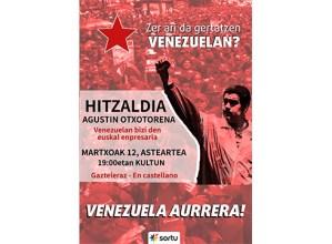 Agustin Otxotorena Venezuelan bizi den enpresariak hitzaldia eskainiko du bihar Kultun