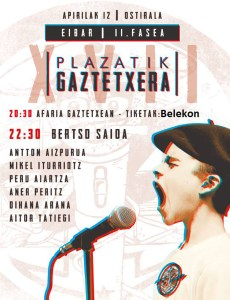 XVII. Plazatik Gaztetxera bertso txapelketa @ Eibarko Gaztetxean