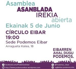 Asanblada Irekia (Elkarrekin Podemos) @ Eibarko egoitzan (Arragueta, 18)